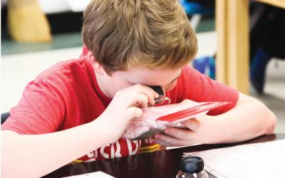 Boy examines insulation through loupe